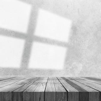 3d render van een houten tafel met uitzicht op betonnen muur