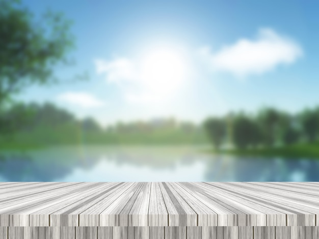 3d render van een houten tafel met uitzicht op een defocussed landschap van het platteland