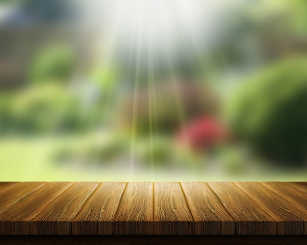 3d render van een houten tafel op zoek naar wazig tuin met zonnestralen