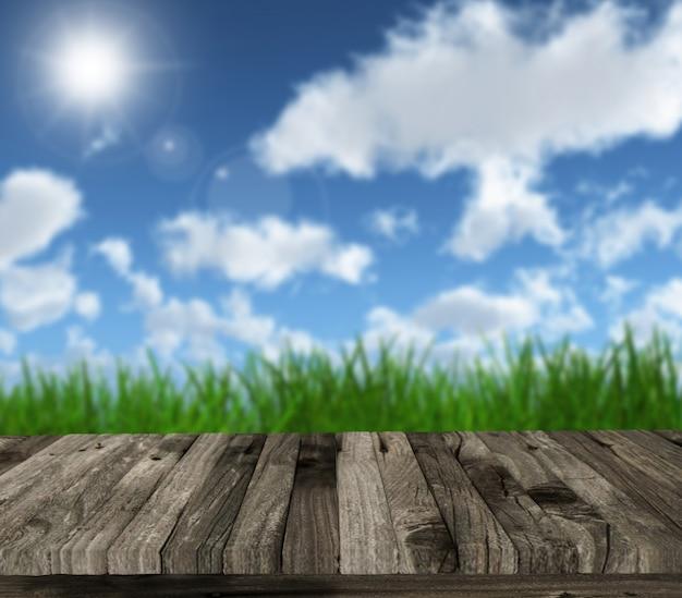 3d render van een houten tafel tegen een blauwe zonnige hemel