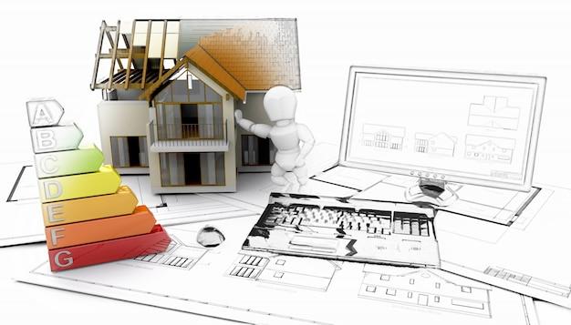 3d render van een huis computer en plannen met een aantal in schets fase