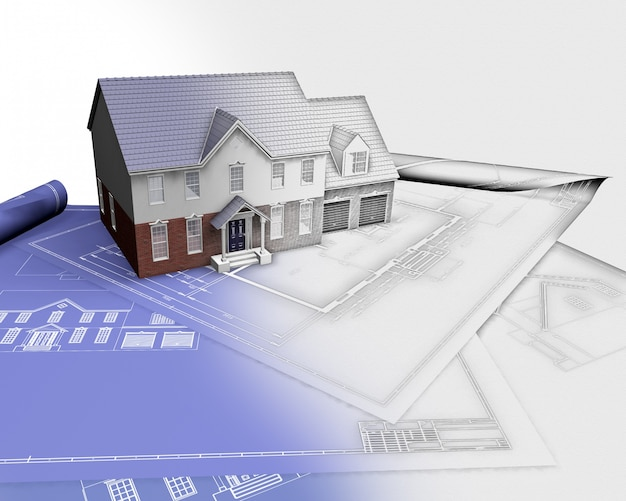 3d render van een huis op blauwdrukken met de helft in schets fase