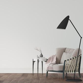 3d render van een kamer met fauteuil en lamp