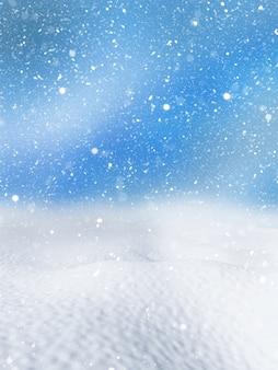 3d render van een kerst besneeuwde achtergrond
