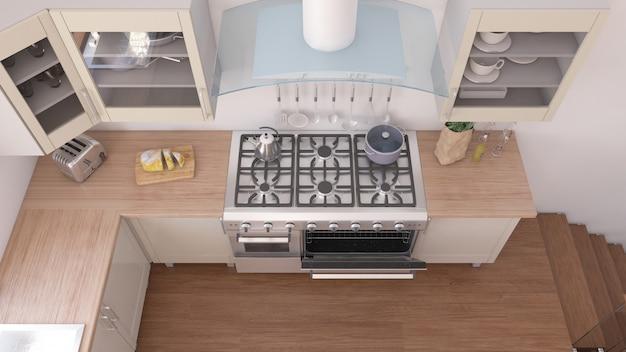 3d render van een keukeninterieur