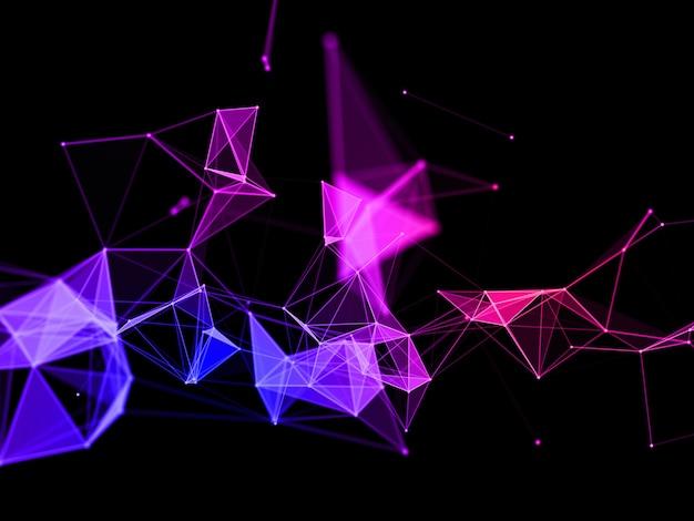 3d render van een kleurrijke techno plexus ontwerpachtergrond
