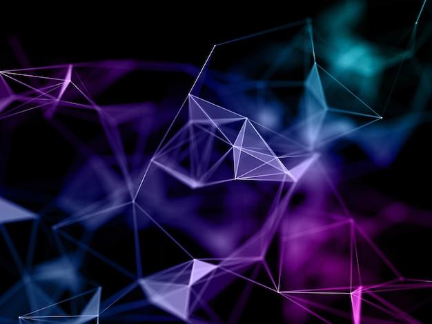 3d render van een laag poly netwerkcommunicatie-ontwerp