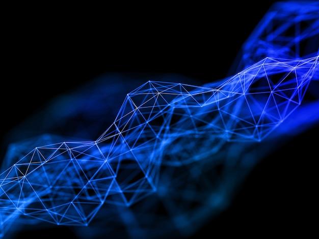 3d render van een laag poly plexus ontwerp met netwerkcommunicatiestructuur
