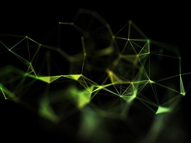 3d render van een laag poly plexus ontwerp, netwerkcommunicatie