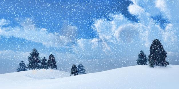 3d render van een landschap van de winter bomen in een sneeuwstorm