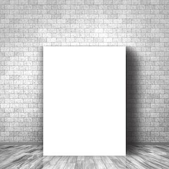 3d render van een leeg doek leunend tegen een bakstenen muur