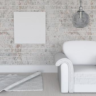 3d render van een leeg doek op grunge bakstenen muur in kamer interieur