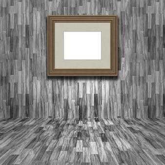 3d render van een leeg fotolijst in een houten kamer
