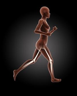 3d render van een lopend vrouwelijk medisch skelet