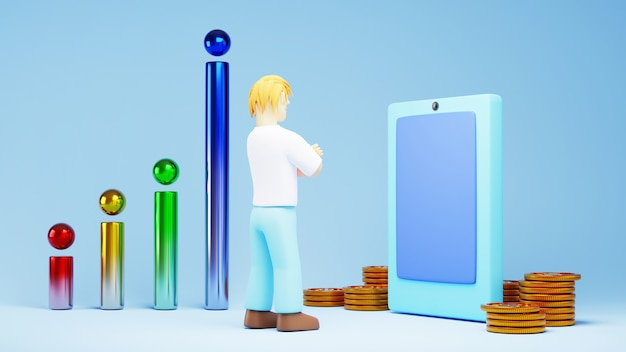 3d render van een man die online zaken doet. online winkelen en e-commerce op web bedrijfsconcept.