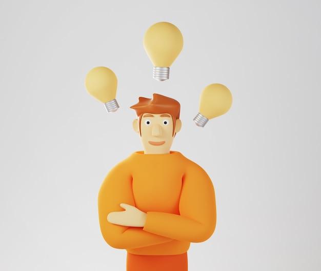 3d render van een man in een oranje trui met drie gloeilampen om hem heen als ideeën op een witte achtergrond