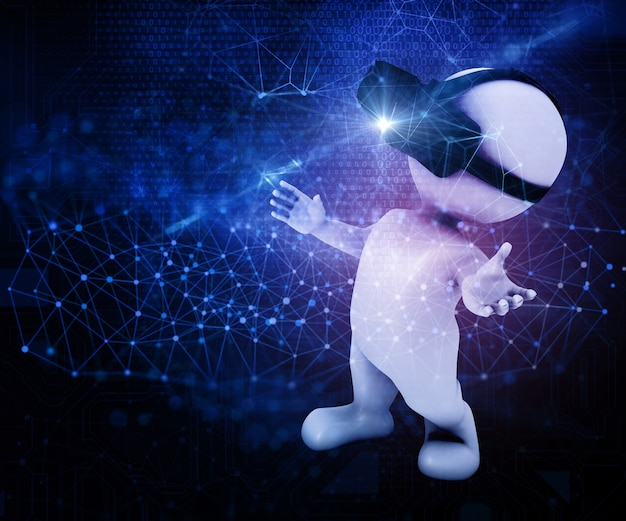 3d render van een mannelijke figuur dragen van een vr-headset op een abstracte techno achtergrond Gratis Foto