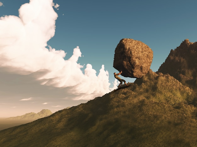 3d render van een mannelijke figuur duwen een enorme rots op een berg