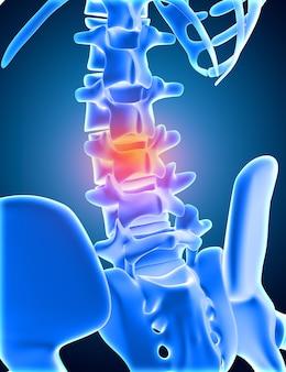 3d render van een medisch skelet met onderste wervelkolom gemarkeerd