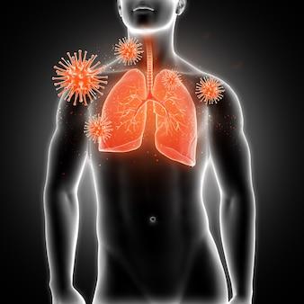 3d render van een medische mannelijke figuur met longen gemarkeerd en virus cellen