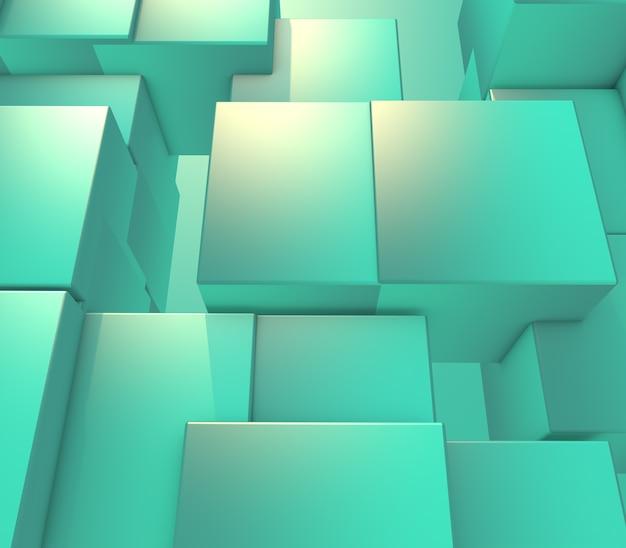 3d render van een moderne samenvatting met het uitdrijven van kubussen