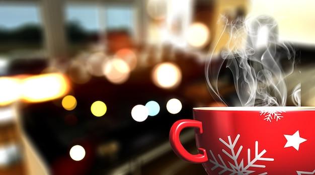 3d render van een mok van kerstmis op defocussed cafe bar achtergrond