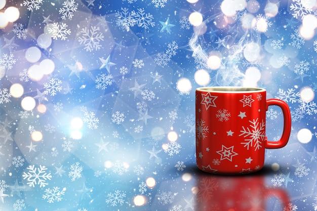 3d render van een mok van kerstmis op een bokeh lichten en sneeuwvlok achtergrond
