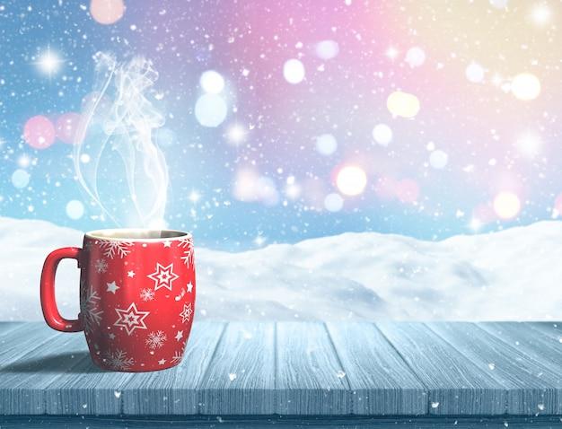 3d render van een mok van kerstmis op een houten tafel tegen een besneeuwde landschap