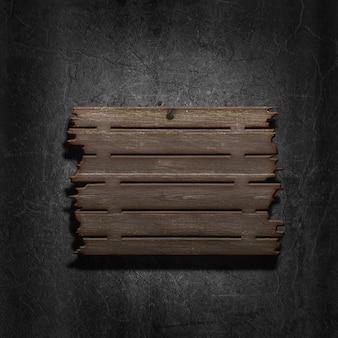 3d render van een oud houten bord op een metalen achtergrond