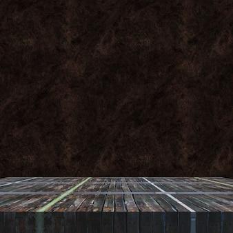 3d render van een oude houten vintage tafel tegen een grunge achtergrond