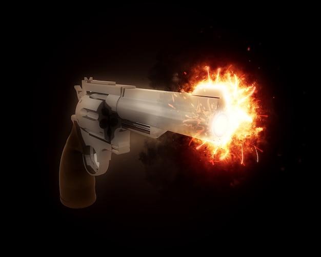 3d render van een pistool met een exploderende vat