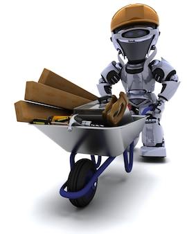 3d render van een robot bouwer met een kruiwagen dragen gereedschappen