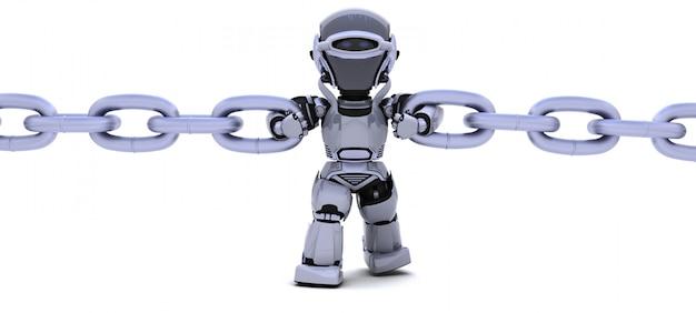3d render van een robot die een keten