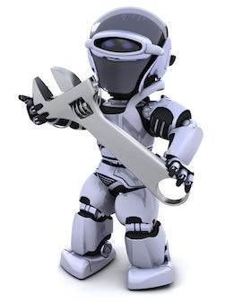 3d render van een robot en verstelbare moersleutel