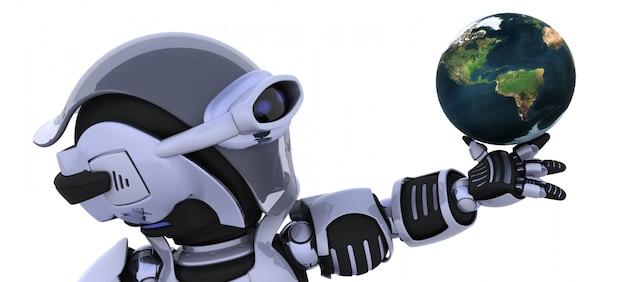 3d render van een robot inspectie van een wereldbol