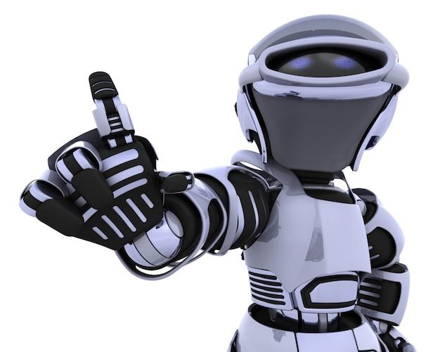 3d render van een robot introduceren of presenteren