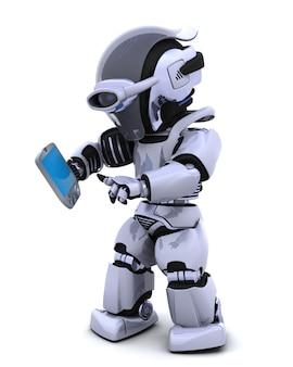 3d render van een robot karakter meteen een palm proef