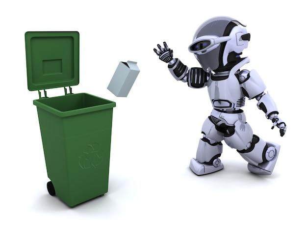 3d render van een robot met afval