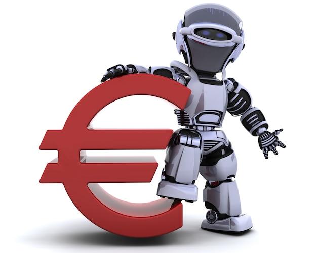 3d render van een robot met een euroteken