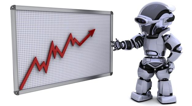 3d render van een robot met een grafiekgrafiek