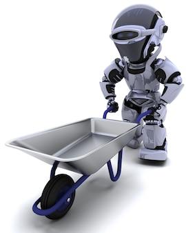 3d render van een robot met een wiel kruiwagen