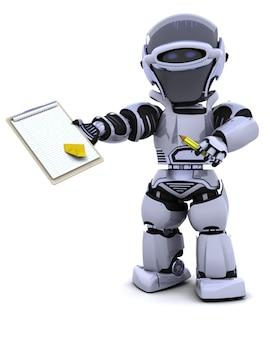 3d render van een robot met klembord