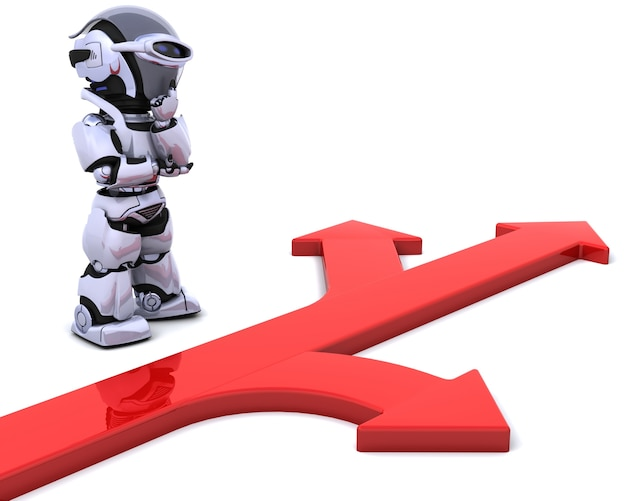 3d render van een robot met pijl symbool