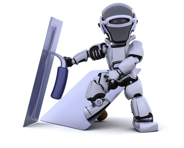 3d render van een robot met stukadoors gereedschappen