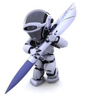 3d render van een robot schrijven met pen