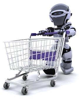 3d render van een robot winkelen met een kar