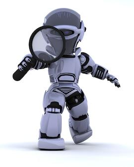 3d render van een robot zoeken met vergrootglas