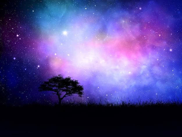 3d render van een silhouet boom landschap tegen een nevel nachthemel