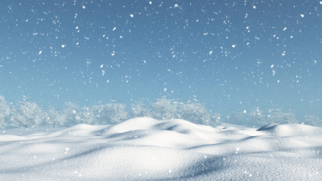 3d render van een sneeuwlandschap Gratis Foto