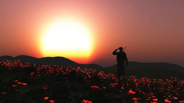 3d render van een soldaat die op een veld van papavers groet